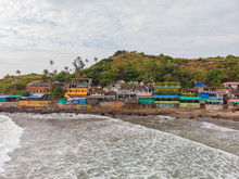 Aerial View Of Colorful Huts By The Arambol Beach In North Goa, India.