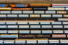 Aerial View Of Cargo Trains At...