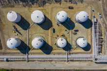 Aerial View Of A Petro Chemical Processing Plant And Storage Facilities In Early Morning Light In Lemont, IL - USA.