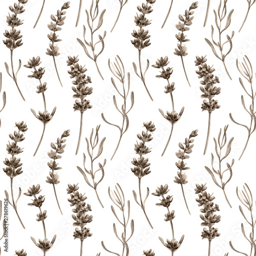 Fényképezés Watercolor seamless pattern in retro style with lavender flowers and leaves