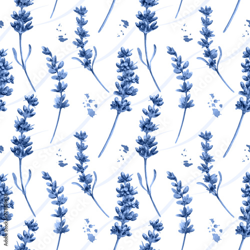 Photo Watercolor seamless pattern in retro style with blue lavender flowers and leaves
