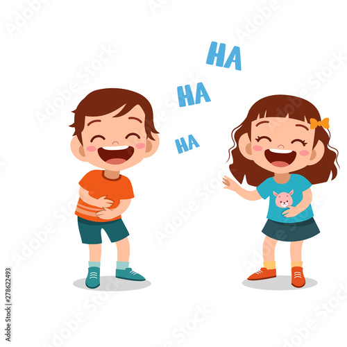 Valokuvatapetti kids children laughing together vector