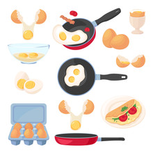 Eggs Design Elements Set, Isolated On White Background. Vector Breakfast Meal, Raw Ingredients And Cooking Process