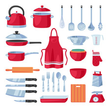 Kitchen Utensil Design Elements Set, Isolated On White Background. Vector Cooking, Kitchenware Modern Tools Collection