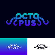Octopus Logo. Seafood Restaurant Logo. Lettering Composition With Letters O Like Octopus Tentacles. Logotype On Different Backgrounds.