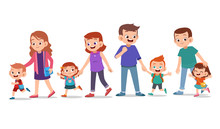Kids With Parent Vector Set Bu...
