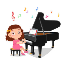 Illustration Of A Boy And A Girl Playing Piano