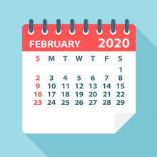 February 2020 Calendar Leaf - Vector Illustration