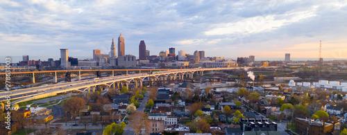 Fotografie, Obraz Highway Through Cleveland Ohio Cuyahoga County Seat North America