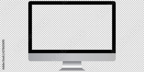 Modern computer monitor with transparent screen. Vector mockup