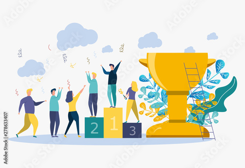 Fotografie, Obraz  Colorful vector illustration, concept of achieving the vector business goal, winner with a golden cup in his hand, first place, number one, holiday