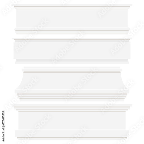 Photo Set of white plastic or wood baseboards isolated on white background