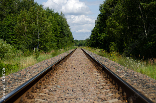 Poster Voies ferrées Railway on the background of green forest stretching into the distance. Two sleepers and rails on the gravel.