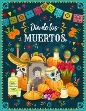 Sugar Skulls On Mexican Day Of...