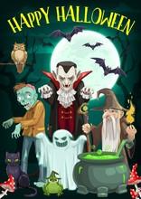 Halloween Ghost, Vampire, Zombie And Wizard