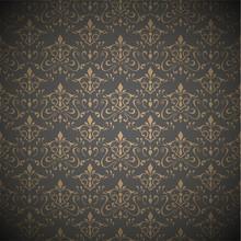 Seamless Dark Floral Wallpaper .Vector Illustration