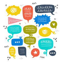 Set Of Colorful Hand Drawn Speech Bubbles