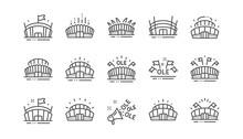 Sports Stadium Line Icons. Ole...