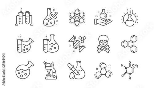 Photo  Chemistry lab line icons