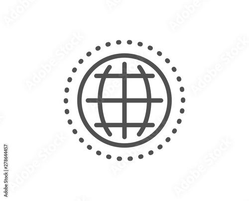 Globe line icon  World or Earth sign  Global Internet symbol