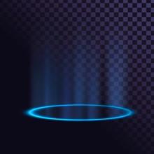 Blue Glowing Ring, Neon Pedestal, Illuminated Circle On The Floor