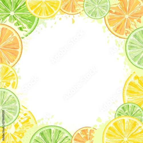 Foto op Plexiglas Draw Citrus Watercolors Fresh Summer Frame Vector Design