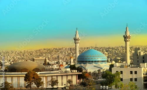 King Abdullah Mosque in Amman Jordan Canvas Print