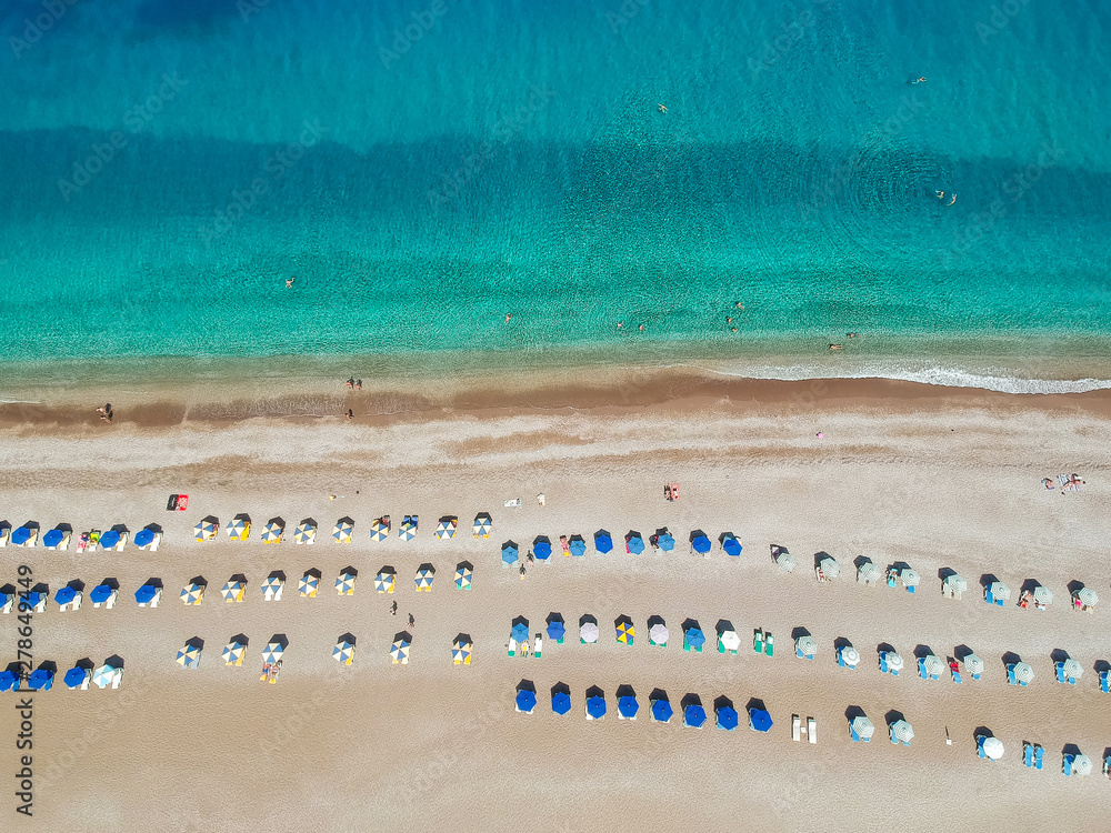 Fototapety, obrazy: Aerial birds eye view drone photo of Elli beach on Rhodes city island, Dodecanese, Greece. Panorama with nice sand, lagoon and clear blue water. Famous tourist destination in South Europe