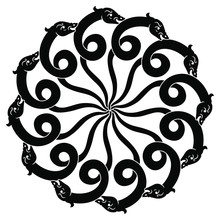 Orante Round Animal Decor Or Mandala With Stylized Snakes Or Dragons. Black And White Silhouette.