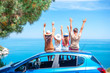 Leinwandbild Motiv Summer car trip and young family on vacation