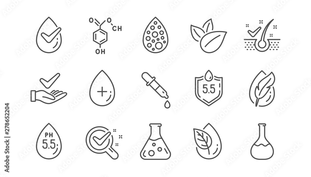 Fototapety, obrazy: No artificial colors, Anti-dandruff flakes free line icons. Dermatologically tested, Paraben chemical formula icons. Hypoallergenic tested, Neutral ph. Linear set. Vector