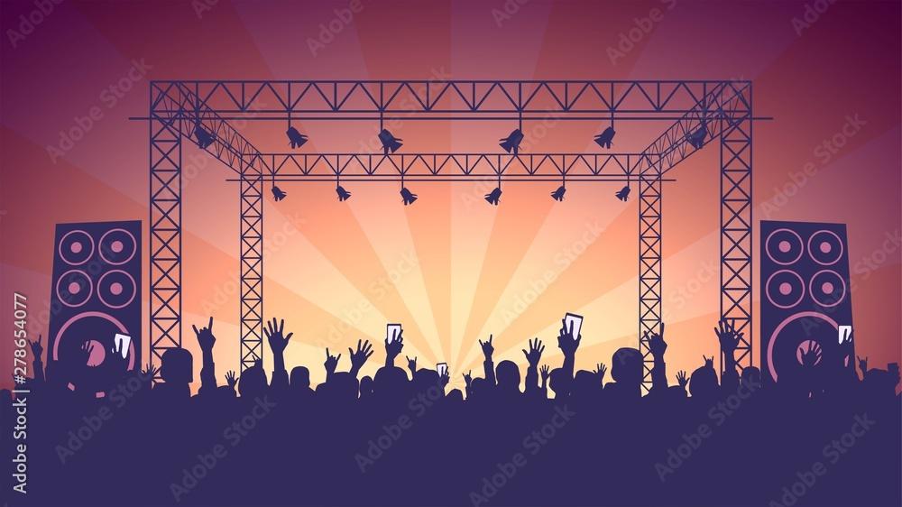 Fototapeta Scene, crowd of fans, rock concert, music festival, night club