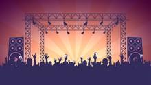 Scene, Crowd Of Fans, Rock Concert, Music Festival, Night Club