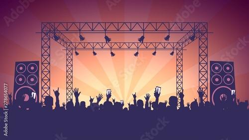 Obraz na plátne Scene, crowd of fans, rock concert, music festival, night club