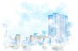 東京の高層マンション High-rise apartment in Tokyo. Illustration of watercolor painting style.