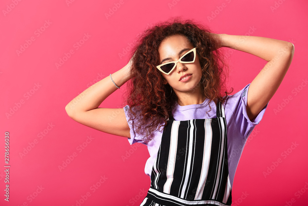 Fototapety, obrazy: Beautiful young woman on color background