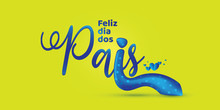 Portuguese Father's Day Lettering. Brazilian August Celebration. Typographic Vector Art. Colorful Composition.