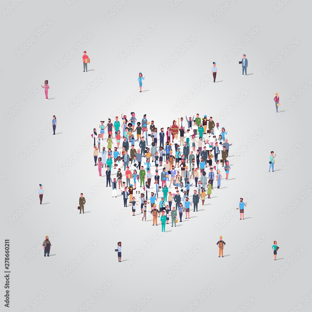 Fototapety, obrazy: people crowd gathering in heart icon shape social media community add to favorite love concept different occupation employees group standing together full length
