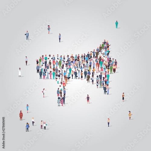 people crowd gathering in loudspeaker megaphone shape social media community announcement concept different occupation employees group standing together full length Wall mural