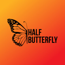 Half Butterfly Wing Sillhouett...