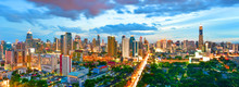 Panoramic Twilight View Cityscape Commercial Modern Building And Condominium In Downtown Bangkok ,Thailand
