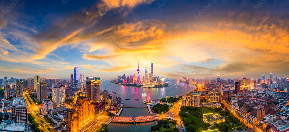 Fototapeta Shanghai skyline panoramic view at sunset,China