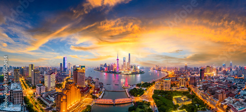 Shanghai skyline panoramic view at sunset,China Wallpaper Mural