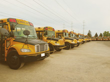 The Parking Full Of School Buses Waiting For Educational Season. Row Filled With Many Schoolbus Ready To Pick Up Students To School.