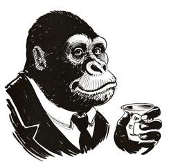 Black smiling gorilla with ...