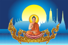 Buddha Sit On Lotus With Golden Tattoo Serpent Or Naga Vintage Style And Full Moon Temple Background