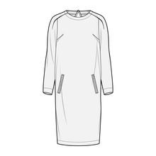 DRESS Fashion Flat Sketch Template