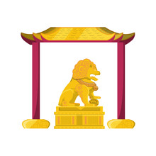 Chinese Lion Statue In Gold Wi...