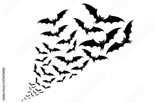 Carta da parati flying bats silhouettes. flock of bats