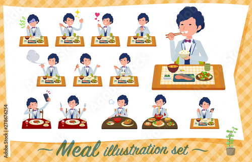 flat type blue casual tuxedo men_Meal Fototapet